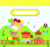 Train party over dotted background vector Stock Photo