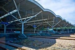 Train pass railway station. Royalty Free Stock Image