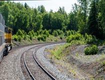 Train passant par la région boisée Image libre de droits