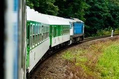 Train passant par une forêt Photographie stock libre de droits