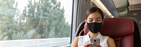 Free Train Passenger Asian Business Woman Using Mobile Phone During Travel Commute Wearing Face Mask For Corona Virus Royalty Free Stock Photography - 206334607