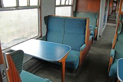 Train Passenger Carriage. Seating on a Vintage Railway Train Passenger Carriage Stock Photos