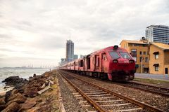 Train on the Shores of Colombo in Sri Lanka royalty free stock image