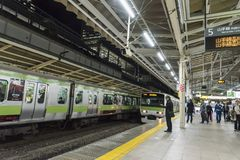 Trains on Yamanote Line Tokyo station Stock Images