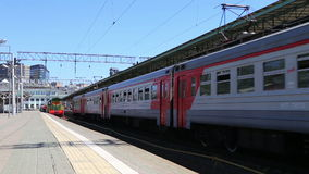 Train and passengers on Moscow passenger platform (Belorussky railway station) is one of the nine main railway stations in Moscow. Russia stock video footage