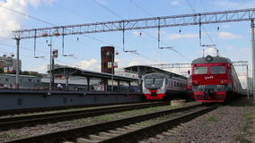 Train and passengers on Moscow passenger platform Savelovsky railway station is one of the nine main railway stations in Moscow. Russia stock footage