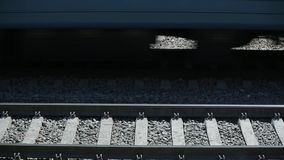The train passes by rail stock footage