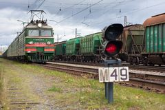 The train passes through the sorting station royalty free stock images