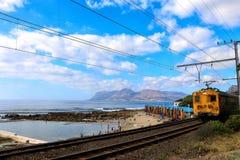 The train passing through the bathing beach Stock Photo