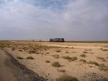 Train passing the desert with small bushes Royalty Free Stock Photography