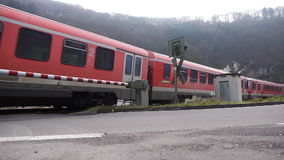 Train passing by in Eifel, Germany stock video footage