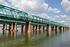 A train passing Hangang railway bridge Royalty Free Stock Photography
