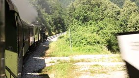 The train passing through the landscape. Shot of the train passing through the landscape,  with reflection of it on the carriage stock video footage