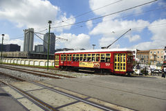 A train passing by in new orleans. Train traveling through new orleans, usa Stock Photo