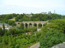 Train passing the Passerelle, 24 Arches Viaduct in Luxembourg City Stock Photo