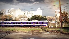 Train Passing Urban Background. Train Passing on an Urban Background, in Buenos Aires, Argentina stock video