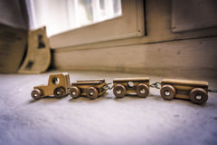 A train from the past for future memories. Vintage train toy carring memories Stock Photos