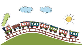 Train pattern. Vector illustration of cute design elements, train pattern Stock Images