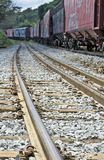 Train perspective from the viewpoint of wheels and rail Stock Photos