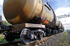 The train with petroleum tanks. The train transports tanks with oil Royalty Free Stock Image