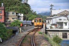 Train on Pingxi line. In Taiwan stock photography