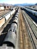 Train, pistes et effet miniature Image stock