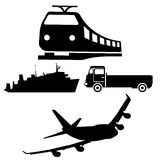 train plane silhouettes Royalty Free Stock Photos
