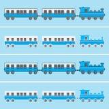Train plat bleu de vecteur de conception avec des chariots Image stock