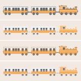 Train plat orange de vecteur de conception avec des chariots Image libre de droits