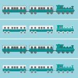 Train plat vert de vecteur de conception avec des chariots Image stock