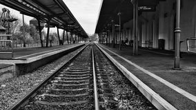 Train platform.Monochromatic scenery