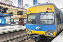 Train in the platform of Flinders Street Railway Station in Melbourne, Australia Royalty Free Stock Photo