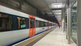 Train at the platform in Heathrow terminal 5 Stock Image