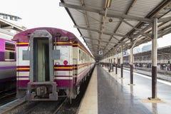Train at the platform. Of Hua Lum Phong railway station, Bangkok, Thailand Royalty Free Stock Image