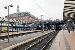 The train platform and main building at Copenhagen Central Railway Station Stock Photography