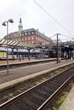 The train platform and main building at Copenhagen Central Railway Station Stock Photo