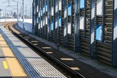 The Train Platform,Minami-Tama Station in Japan. The Train Platform,Minami-Tama Station in Tokyo,Japan Stock Photography