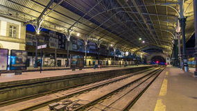 Train at platform of  Sao Bento Train Station. Trains at platform of  Sao Bento Train Station timelapse in Porto, Portugal.  Built in 1916, this station is stock footage