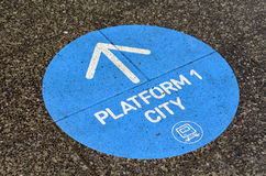 Train platform sign and symbol Royalty Free Stock Images