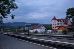 Train platform. At the train station in a small mountain town royalty free stock photography