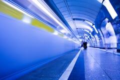 Train on platform in subway Royalty Free Stock Image