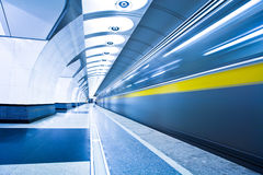 Train on platform in subway Royalty Free Stock Photography