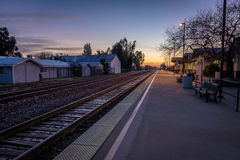 Train platform at sunrise - Merced, California, USA. Train platform at sunrise in Merced, California, USA Royalty Free Stock Photography