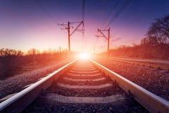 Train platform at sunset. Railroad. Railway station Stock Image