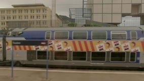 Train on the platform. stock video footage