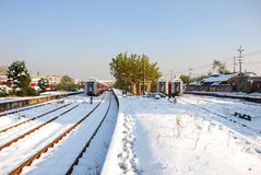The train on platform in winter. The train and trees on platform with snow in winter Royalty Free Stock Photos