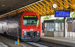Train at the platform of the Winterthur railway station Royalty Free Stock Photos