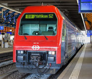 Train at the platform in Winterthur. Winterthur, Switzerland - 10 May, 2015: S8 train at the platform of the Winterthur railway station. Winterthur is a city in Stock Photography