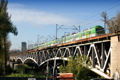 Train on the Poniatowski Bridge in Warsaw Royalty Free Stock Photography
