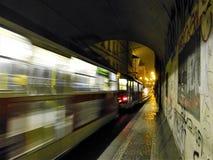 A train in a Prague tunnel stock photos